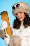 золотистые детеныши женщины лыж Стоковая Фотография RF