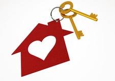 Золотистые ключи дома с красной формой сердца расквартировывают иллюстрацию i иконы Стоковые Изображения RF