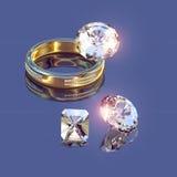Золотистые кольцо и brilliants Стоковые Изображения RF