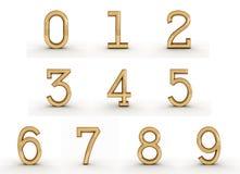 золотистые номера 3d Стоковое Изображение