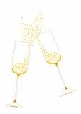 Золотистые праздничные стекла шампанского Стоковое фото RF