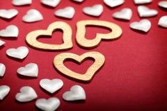 золотистые сердца белые Стоковое фото RF