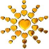 золотистые сердца 3d Стоковое Изображение