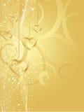 золотистые сердца Стоковые Изображения