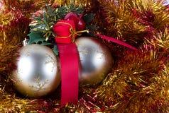 Золотистые шарики рождества Стоковое Изображение
