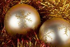 Золотистые шарики рождества Стоковая Фотография RF