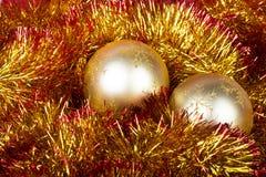 Золотистые шарики рождества Стоковые Изображения RF