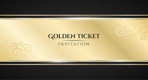 Золотистый билет Роскошное приглашение Золотое знамя ленты на черной предпосылке с картиной сетки Реалистическая прокладка золота стоковое фото rf