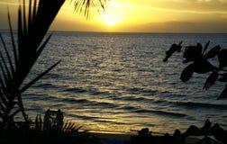 золотистый гаваиский заход солнца 2 Стоковые Изображения RF