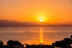 золотистый заход солнца тропический Заход солнца над домами и деревьями Предпосылка захода солнца природы скопируйте космос Стоковое Фото
