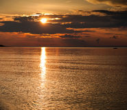 золотистый заход солнца Стоковые Изображения