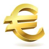 золотистый знак евро 3D иллюстрация штока