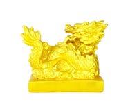 Золотистый китайский имперский дракон на белизне Стоковая Фотография RF