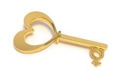золотистый ключ сердца к женщине Стоковое фото RF