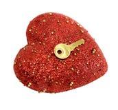 золотистый ключ сердца Стоковое Изображение RF