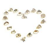золотистый комплект влюбленности ювелирных изделий Стоковые Фотографии RF