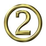 золотистый номер 2 3d Стоковые Изображения