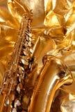 золотистый саксофон Стоковая Фотография