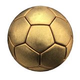Золотистый шарик футбола изолированный на белой предпосылке стоковая фотография rf