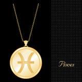 золотистый шкентель pisces ожерелья Стоковое Фото