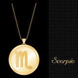 золотистый scorpio шкентеля ожерелья Стоковые Изображения