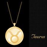 золотистый taurus шкентеля ожерелья Стоковые Изображения RF
