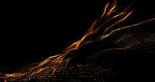 Золотое желтое видео анимации 4k петли картины частицы волны иллюстрация штока