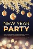 Золотое знамя партии Нового Года иллюстрация вектора