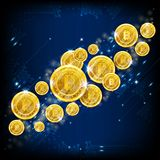 Золотое летание bitcoins на голубой квадратной предпосылке бесплатная иллюстрация