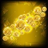 Золотое летание bitcoins на желтой квадратной предпосылке иллюстрация вектора