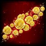 Золотое летание bitcoins на красной предпосылке абстрактный вектор красного цвета предпосылки иллюстрация вектора