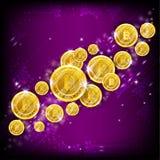 Золотое летание bitcoins на фиолетовой квадратной предпосылке иллюстрация вектора