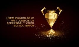 Золотое низкое поли знамя чашки лиги чемпиона стоковые фотографии rf