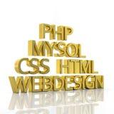 Золотое представление текста компьютерного языка 3D бесплатная иллюстрация