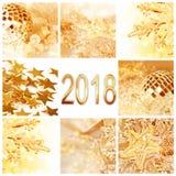2018, золотое рождество орнаментирует поздравительную открытку коллажа квадратную Стоковая Фотография RF