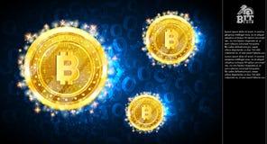 Золотое сдержанное летание монеток на голубой предпосылке с бинарным кодом бесплатная иллюстрация