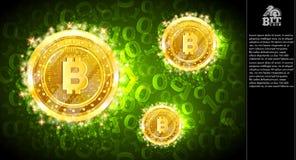Золотое сдержанное летание монеток на зеленой горизонтальной предпосылке с бинарным кодом иллюстрация вектора