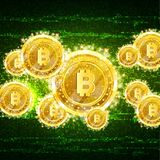 Золотое сдержанное летание монеток на зеленой предпосылке шума информации бесплатная иллюстрация