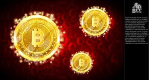 Золотое сдержанное летание монеток на светлой красной горизонтальной предпосылке с бинарным кодом иллюстрация штока