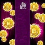 Золотое сдержанное летание монеток со светом и сверкнает на пурпурной предпосылке иллюстрация вектора