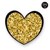 Золотое сердце на белой предпосылке Валентайн дня s 14 Fabruary Предпосылка вектора с сердцем Стоковые Изображения