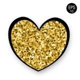 Золотое сердце на белой предпосылке Валентайн дня s 14 Fabruary Предпосылка вектора с сердцем Стоковая Фотография