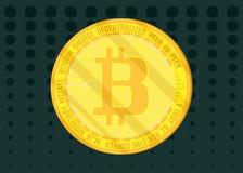 Золотое сияющее bitcoin монетки на темном ом-зелен запасе предпосылки иллюстрация вектора