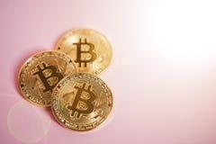 Золотое Bitcoin на розовой предпосылке, концепции cryptocurrency Стоковые Изображения