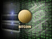 Золотое bitcoin на сервере и цифровой предпосылке кода стоковые фотографии rf