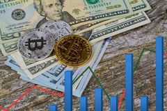 Золотое Bitcoin на счетах доллара США Концепция обменом электронных денег Стоковое Изображение