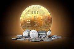 Золотое bitcoin окруженное серебряным ethereum чеканит на нежно освещенной темной предпосылке иллюстрация вектора