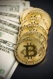 Золотое Bitcoins Цифров Cryptocurrency Стоковые Фотографии RF