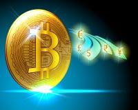 Золотое cryptocurrency bitcoin к доллару, евро, индийской рупии, Britis бесплатная иллюстрация