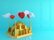 Золотое Hagia Sophia с красным сердцем в голубой комнате Перемещение Tur влюбленности Стоковая Фотография RF
